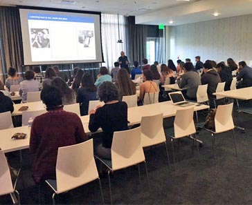 Students at lecture at Genentech