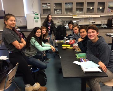 Students hanging out in the lab at lunch.